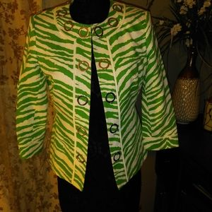 PECK AND PECK GREEN/WHITE ZEBRA PATTERN
